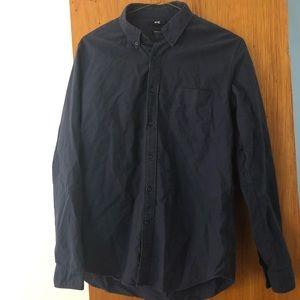 Uniqlo Mens Button Down Shirt Size L Navy Blue